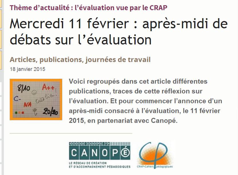 Les débats sur évaluation des @CahiersPédago vont commencer. Demandez le programme : http://t.co/K05bcQexMu  #EvalCC http://t.co/sSmLDpzmFr