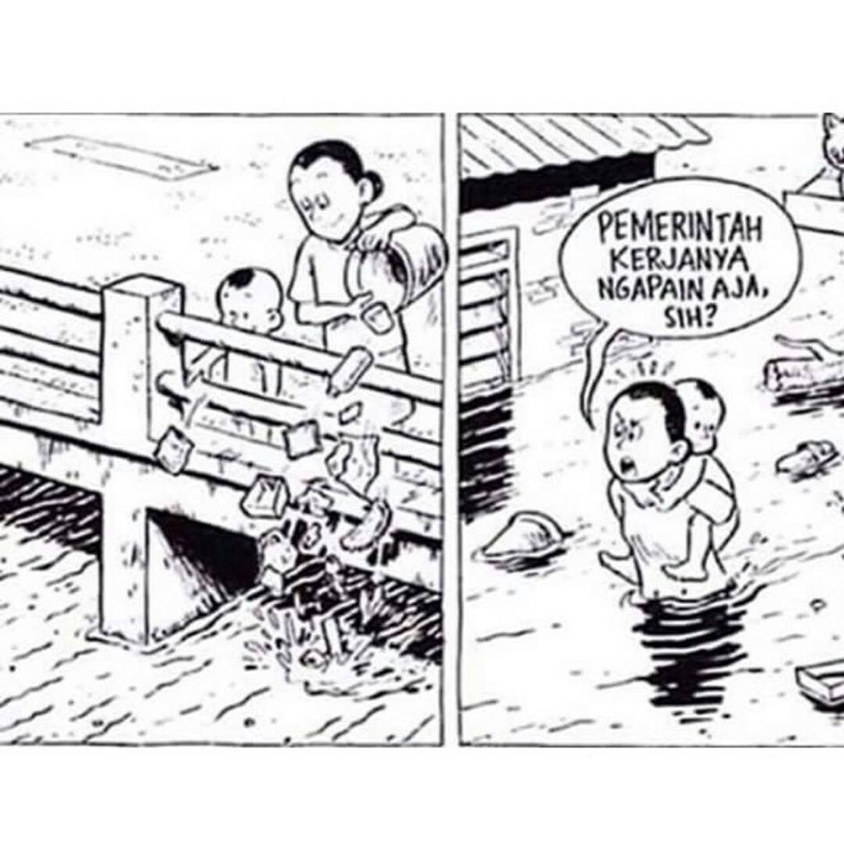 Gambar Kartun Penyebab Banjir