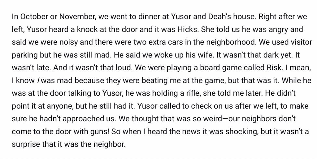 Friend of #ChapelHillShooting victim describes encounter with the gun-wielding neighbor. http://t.co/ZyEOPlEF5w http://t.co/47CSEA3SJM
