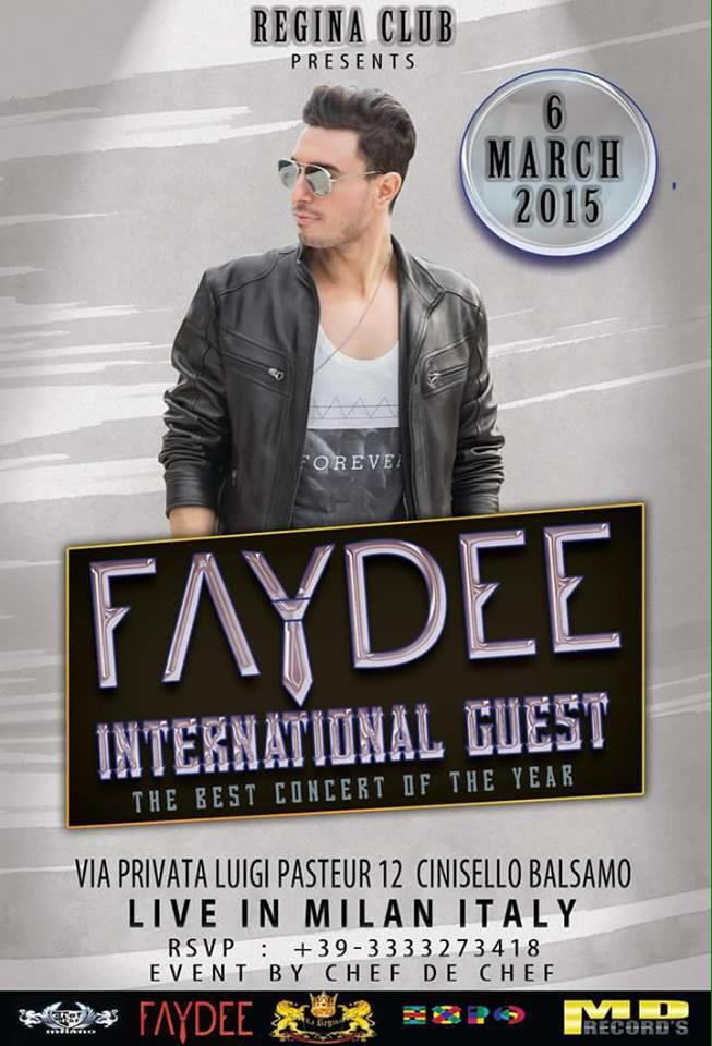 new flyer for Faydee's show in #Milan on 6th March!  God heard my prayers