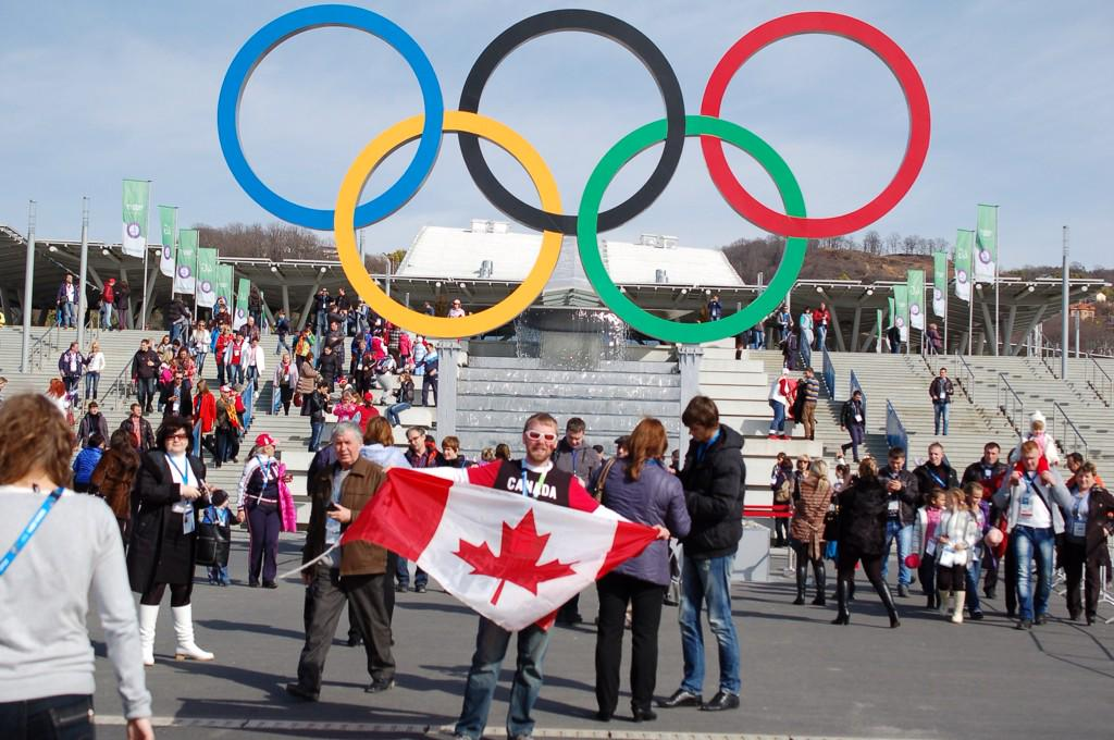 We were like celebrities in Sochi. Many Russians wanted their photo with us and our flag. #Flag50 #CanadaProud http://t.co/ljg9T3ieRT