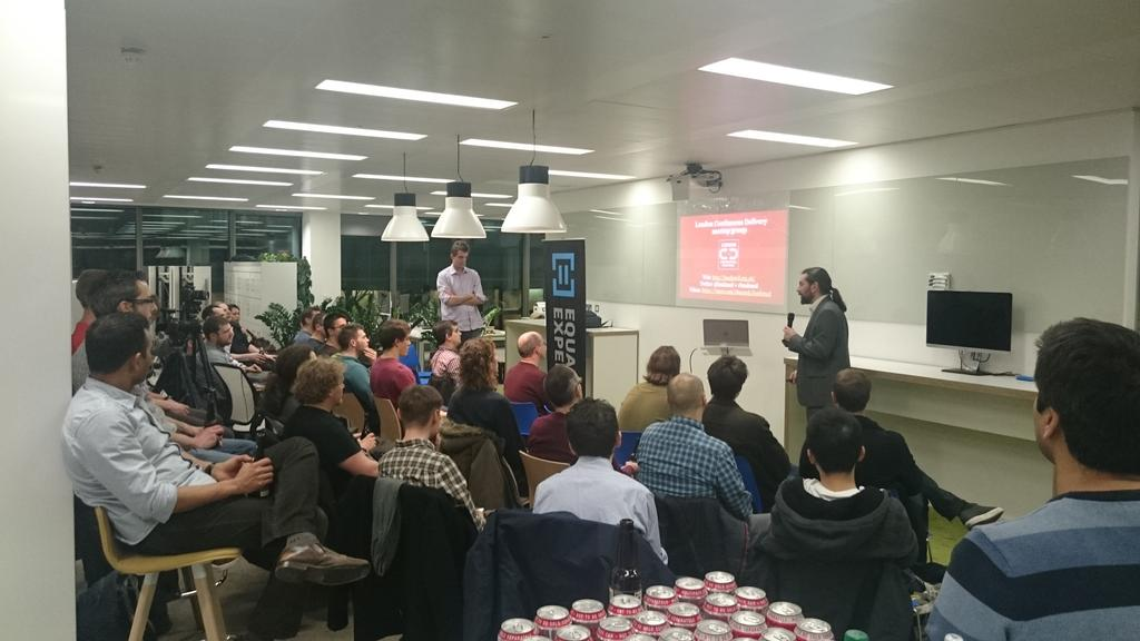 Great turnout for @londoncd meeting at @EqualExperts towers! http://t.co/Ru5EdlXnQ9