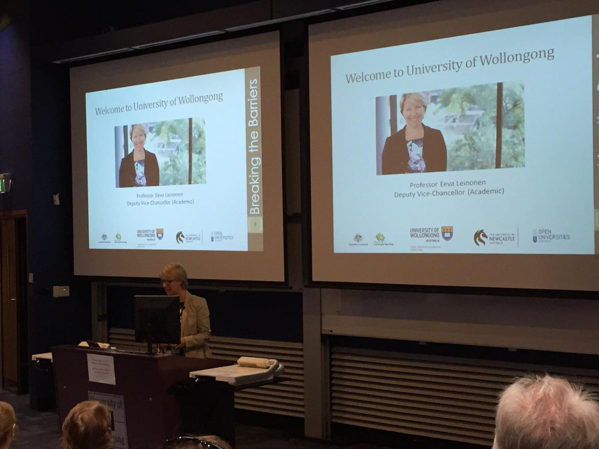 DVC Academic Professor Eeva Leinonen @UOW welcomes us to Wollongong #firstinfamilyforum http://t.co/d45tCqcLQl