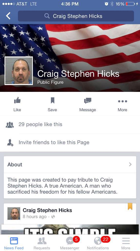 #TeaParty folks have created a support page for the #ChapelHillShooting terrorist. Welcome to conservative America.