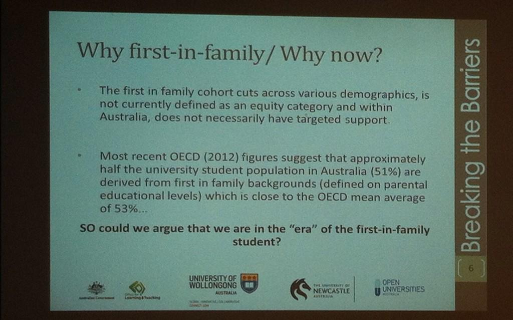 Wow, 51% Australian uni students are first in family @seos895 #firstinfamilyforum http://t.co/BoQJK1MNOl