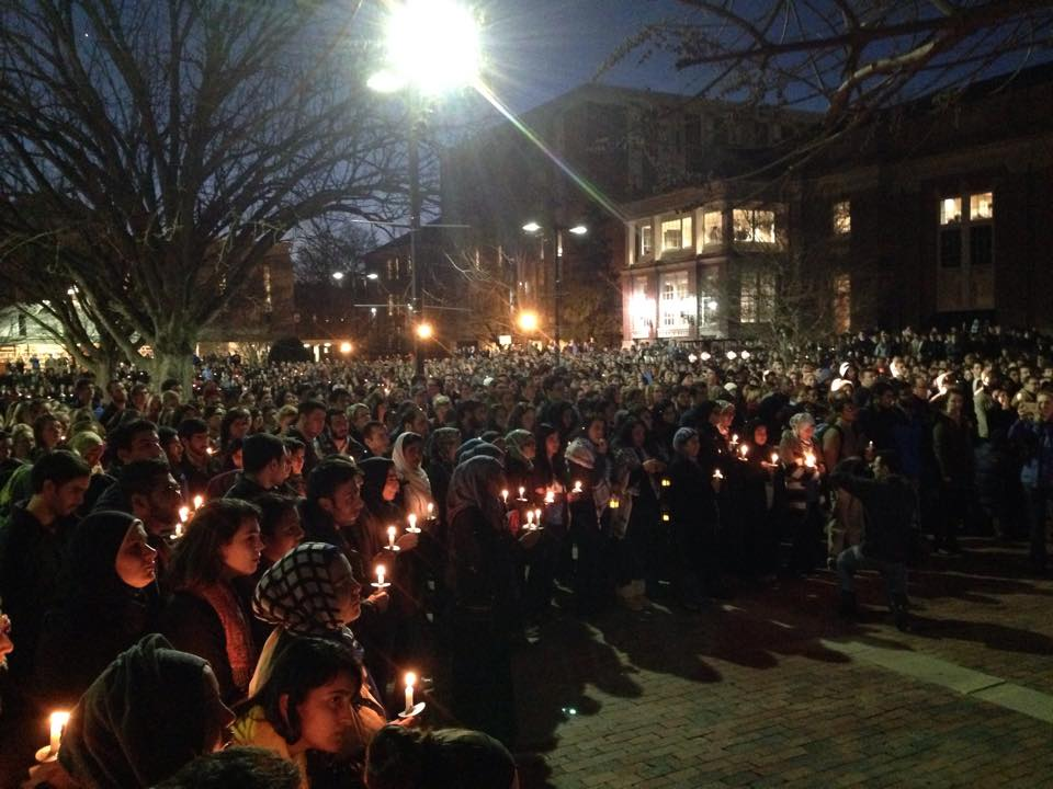 """A monumental turn out for tonight's Vigil at UNC."" #ChapelHillShooting   #OurThreeWinners   https://t.co/WoEZjd2grM http://t.co/TW44Zj3TC0"