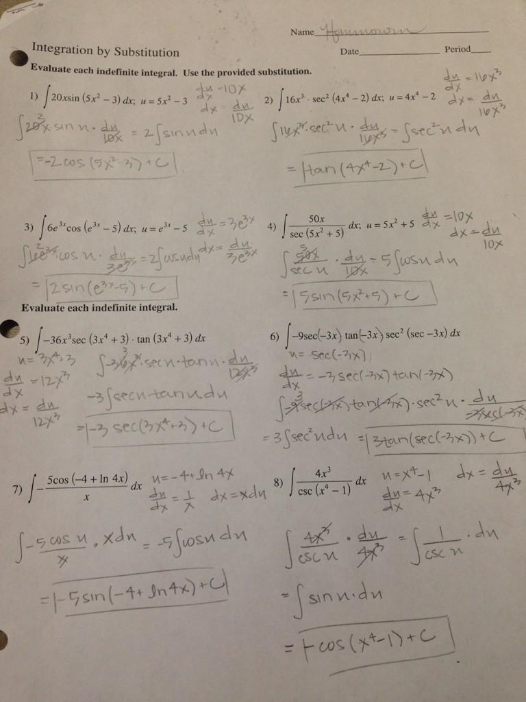 Ms Hommowun On Twitter As Promised U Substitution Answers
