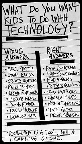 A3: Teach technology as learning tools not as learning outcome #whatisschool http://t.co/5CYHb8g3ei