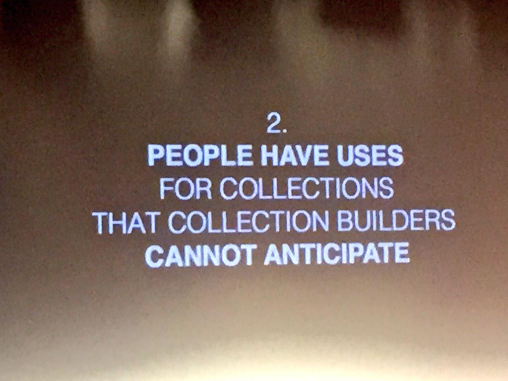 #eurtech15 @dpla Great quote for everyone to remember. Don't try to anticipate all uses of data. Just let it happen. http://t.co/HcTnIM7zQI