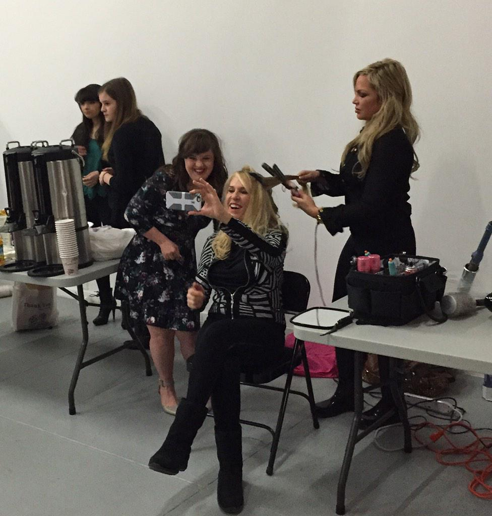 Hair, makeup, and selfies as we prep for the show! @MsJamieBrewer #RoleModelsNotRunwayModels #NYFW http://t.co/yMoR408PGI