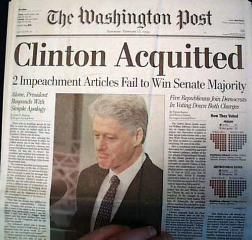 Image result for u.s. president bill clinton was acquitted by the u.s. senate in his impeachment trial