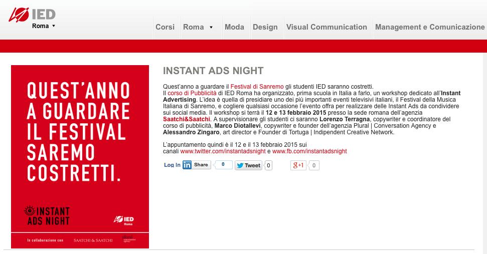 Instant Ads Nignt.  Primo workshop dedicato all'Instant Advertising. #Sanremo2015 #divanorolling @iedroma http://t.co/KgFzZ0aOj6