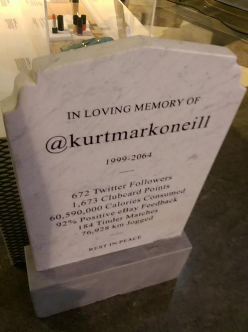 Imagining tombstones of the future at #LIFELOGGING, by @KarlTooomey . http://t.co/kcHBVKlP4s