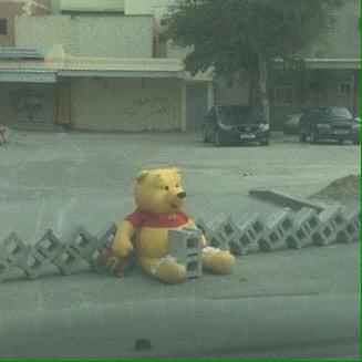 Teddy bears starting to appear at barricades before #Bahrain Feb 14 anniversary