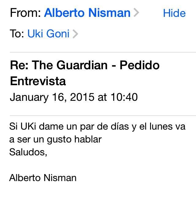 El viernes 16 enero le mandé u mail a Nisman pidiendo una entrevista. Me contestó con éste a las 10.40am: http://t.co/1yF2pD3iux