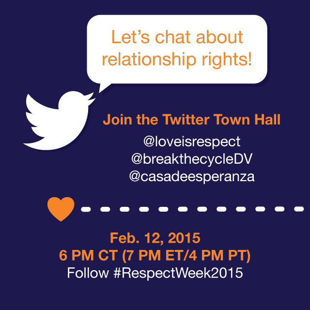 Have questions about your relationship rights? Join our Twitter chat @ 6 PM CT! #RespectWeek2015 #teenDVmonth http://t.co/METYBywCiG