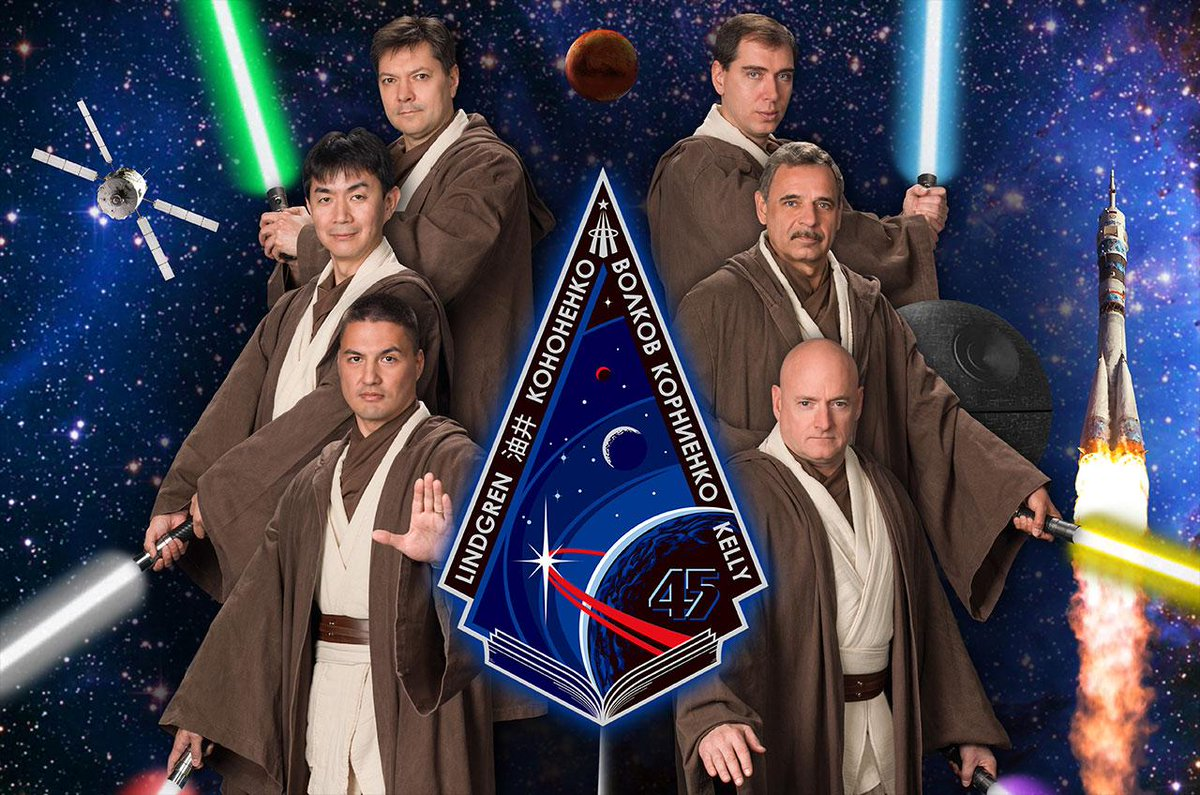 Future @Space_Station crew dons Jedi robes for @StarWars-inspired #NASA poster: http://t.co/EFFhnhKnev #Exp45 http://t.co/Z905fbJesh