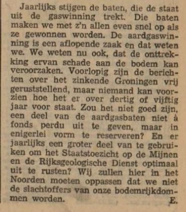 Voorspelling uit 1972: gaswinning in Groningen brengt problemen. Vondst van @arjandijksma http://t.co/y4uEPehWR7 http://t.co/C6IvstpOFX