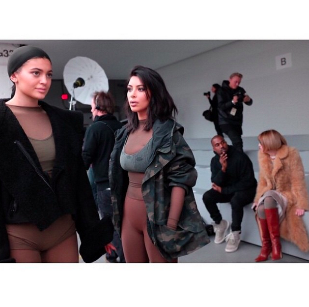 Kylie and Kim prepare for Kanye's Adidas collection at NYFW. (Twitter/@destinationlux)
