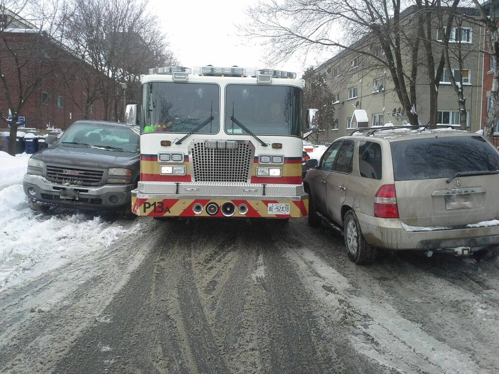Dont forget to leave room for Emergency Vehicle when you park on the street. #Ottawa #SnowRoomForTrucks http://t.co/3IF9X7MuV0