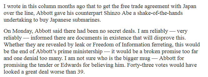 "MT @TheMurdochTimes: Abbott did secret deal to buy subs from Japan. ""Documents exist""  http://t.co/GkANfwSVPQ http://t.co/MI1WTOEInK"