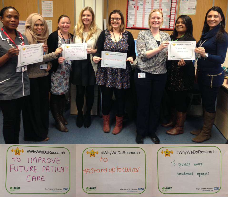 SHARE team on #WhyWeDoResearch supporting trials in skin, head & neck, brain, breast & gynaecological cancer @GSTTnhs http://t.co/Zu6y0ab4Fm