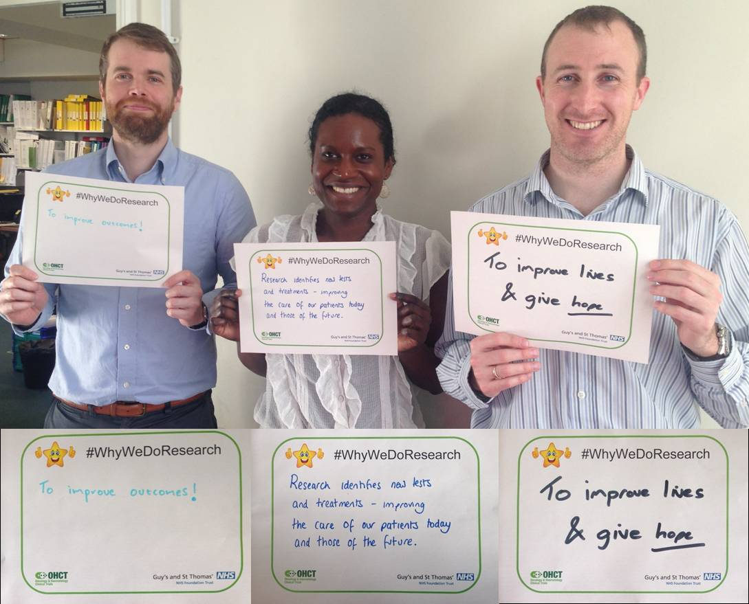 Safety & support team on #WhyWeDoResearch working behind the scenes to protect patient safety and well-being @GSTTnhs http://t.co/etWG4M7JHP