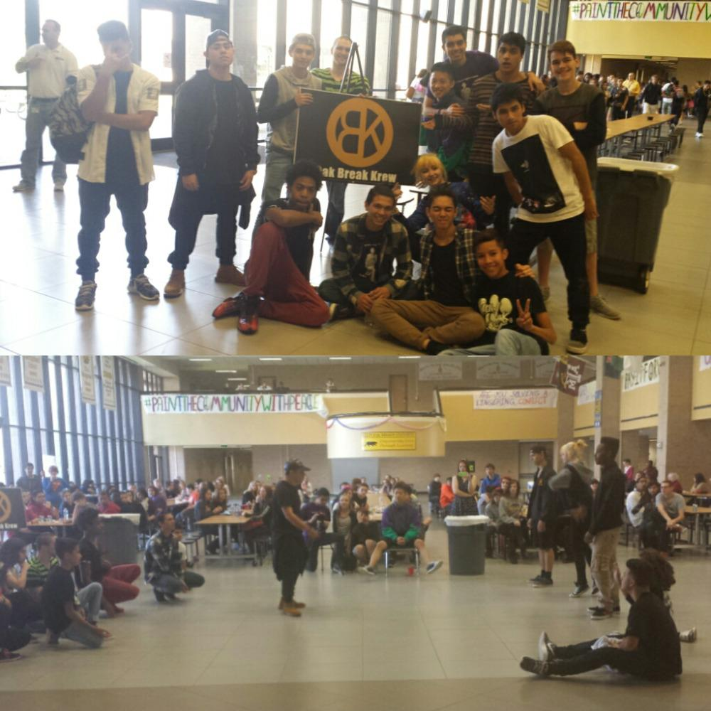 "OBK ""breaks"" for peace during lunches today.  Great job guys!  #paintthecommunitywithpeace #oakem http://t.co/r5Gm5DWqDb"