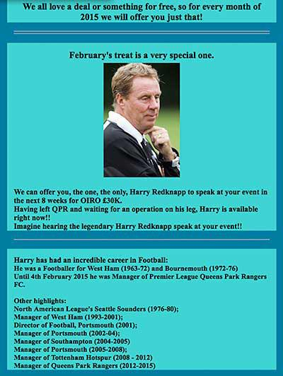 Harry Redknapp is bravely willing to bear the torment of his knackered knee and take to your stage for a mere £30K http://t.co/XMGaizlCks