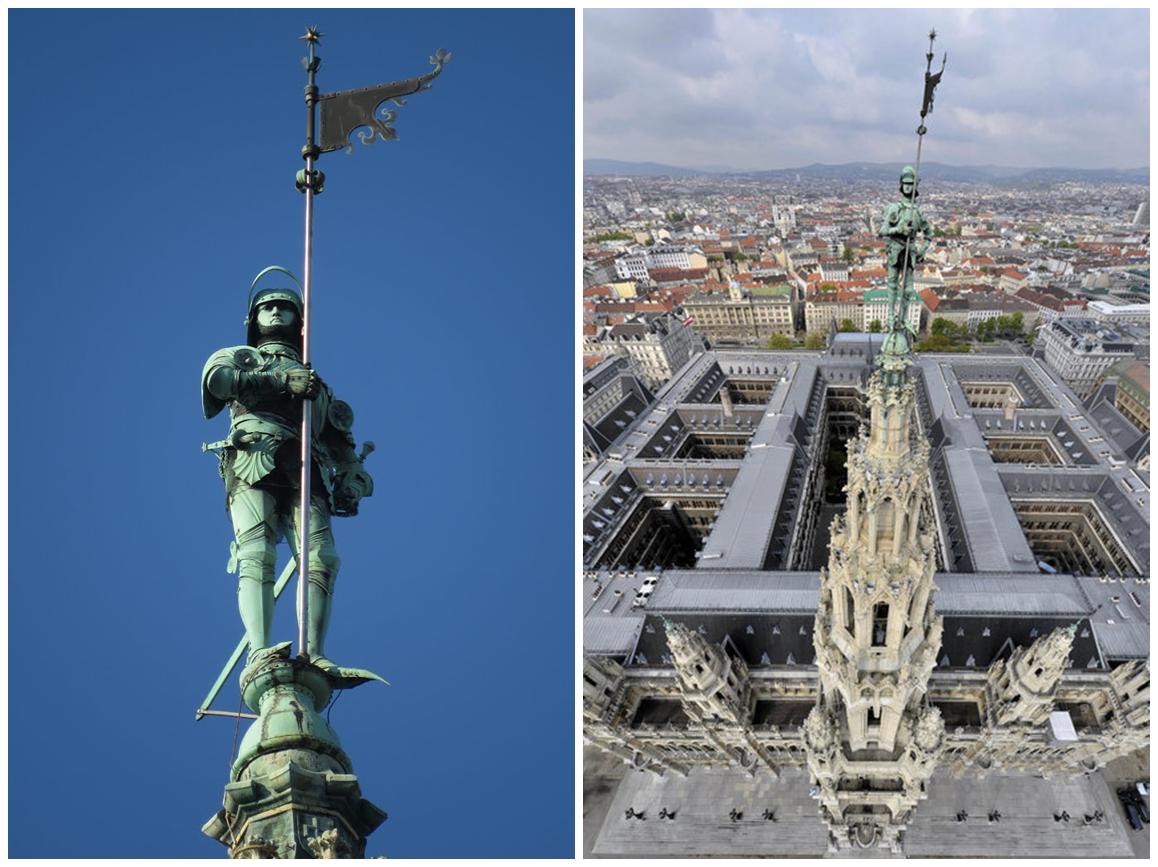 Der von Friedrich von Schmidt entworfene Rathausmann misst stattliche 3,4 Meter und hat Schuhgröße 63. #WienFakt http://t.co/47qLUSEsRM