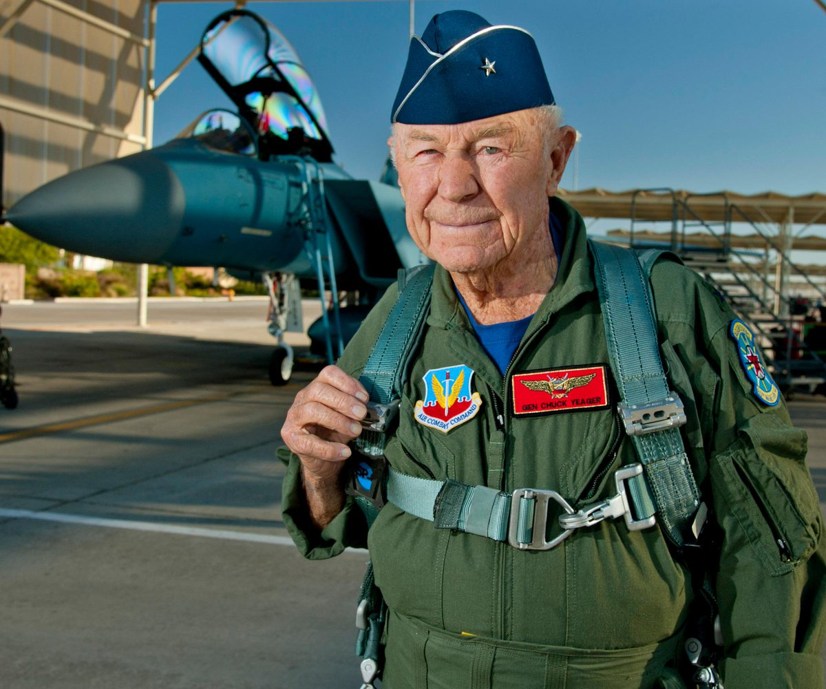 """#HappyBday to Chuck Yeager! The """"fastest man alive"""" turns 92 today. #AirForce http://t.co/xysBXJVlcu"""