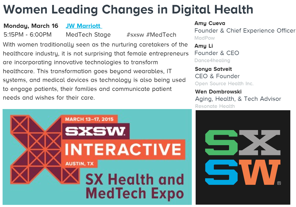 Excited to announce #Women Leading #DigitalHealth  at #SXSW #MedTech ― founders @AmyCueva @MeiDesign @HormoneSoup! http://t.co/0jqGJo7LYH