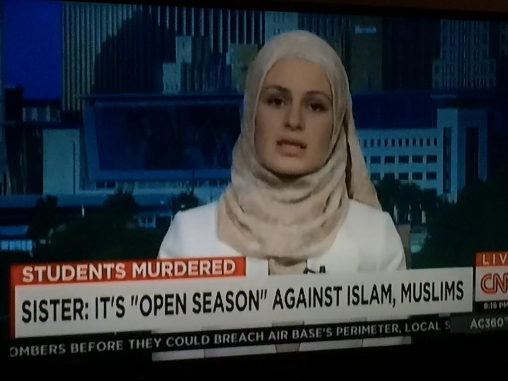 Deah's sister on general discourse of dehumanization & mentions example of #AmericanSniper film. #ChapelHillShooting http://t.co/Wz0Ty0kdFY