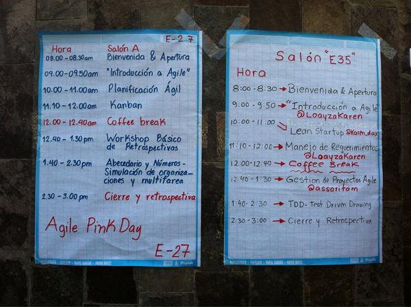 La agenda del dia #AgilePinkDay http://pic.twitter.com/RKCpLkIH