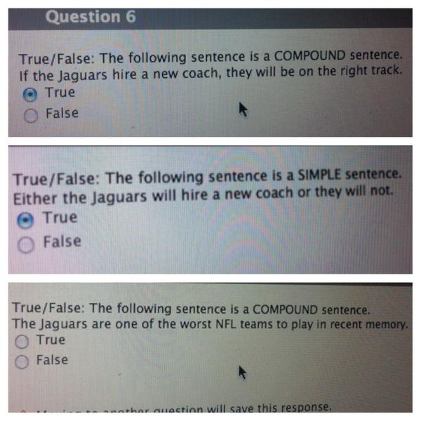 Someone hates the #jaguars I'm not sure I like your questions, Professor. Leave the Jags out of symbolic logic, thx http://t.co/HLortBEG