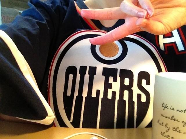 Oilers jersey and coffee
