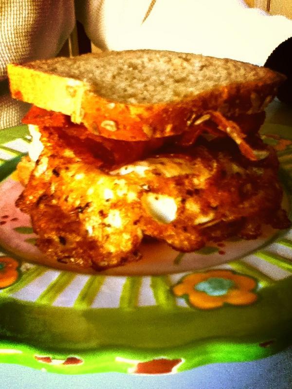 @Gilbert_Burns My dad's breakfast. #multigrainbread #turkeybacon #overeasyegg #meanbreakfast #holycrap http://t.co/F3tpSyq5