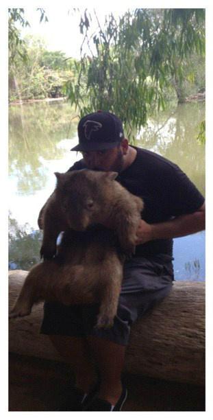 Dave hugs a wombat