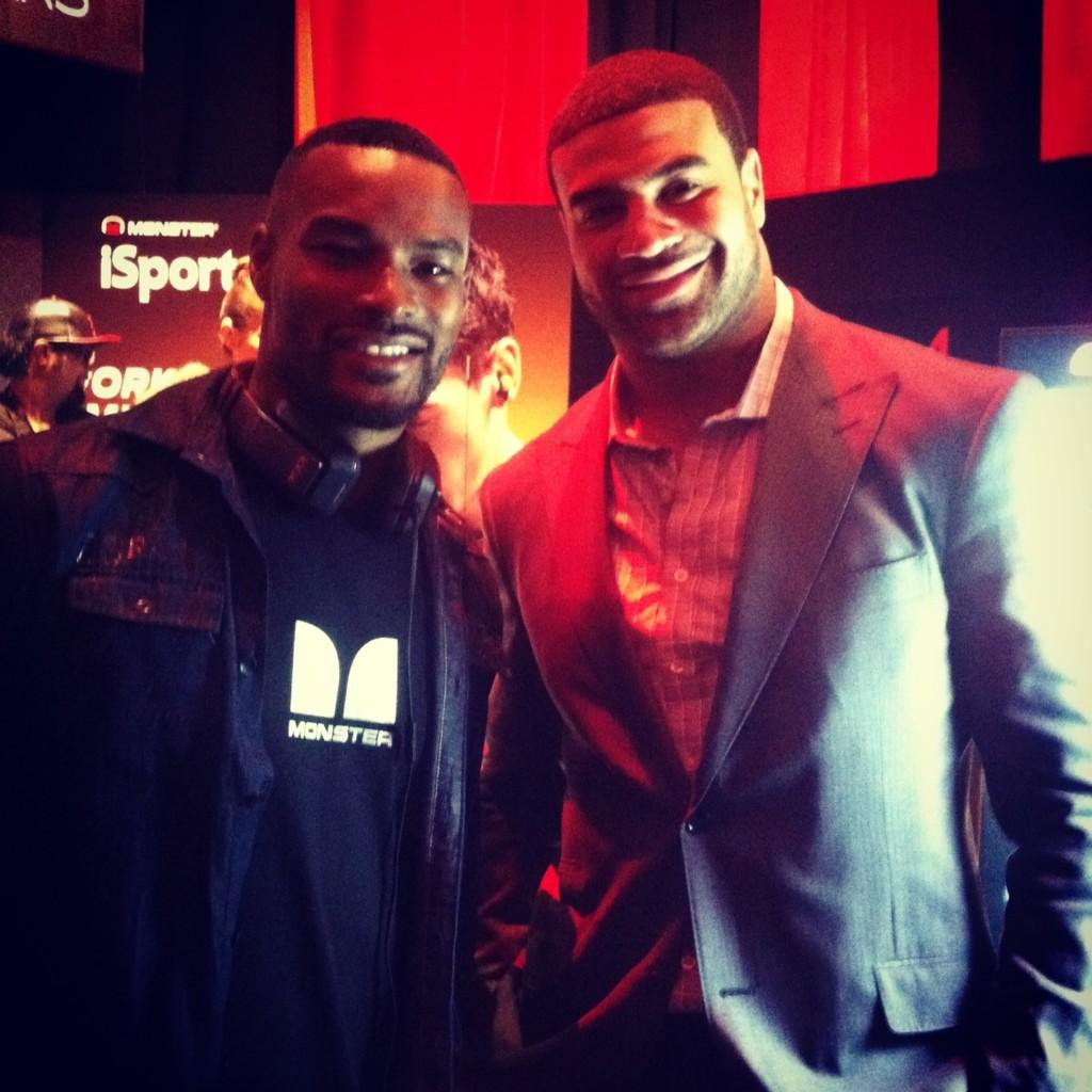 Best of both worlds! Talking Fashion & Sports w/ @TysonCBeckford & @shawnemerriman #MonsterCES #2013CES http://t.co/5fQg9vpw