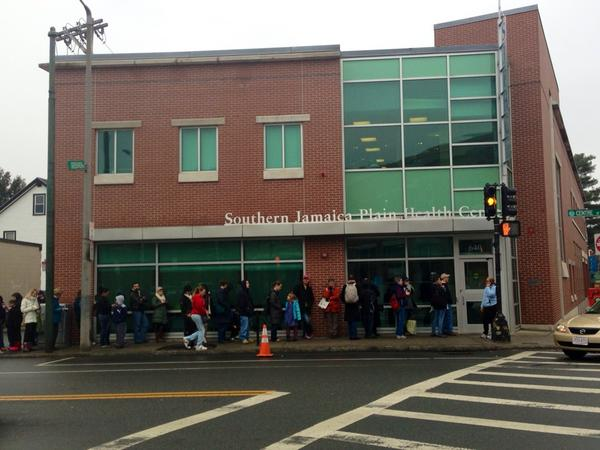 Long lines at a Jamaica Plain Health Clinic