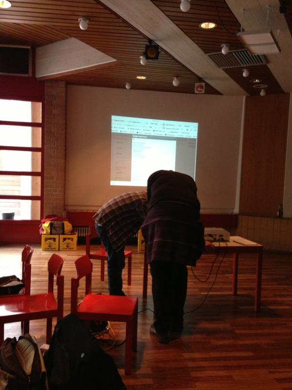 Coding never stops. Fixing bugs during presentation #mhbln #hackathon #Berlin http://pic.twitter.com/sWDx501v