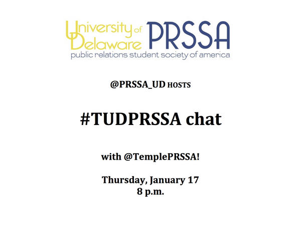 #PRSSA members: Join us for our first co-Twitter chat with @TemplePRSSA on this Thursday using #TUDPRSSA! #UDCOMMPR http://pic.twitter.com/Zc3xPNDO