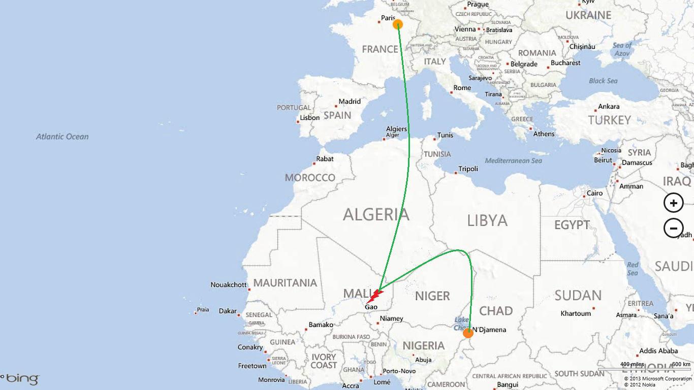 Ruta de los Rafale hasta Chad