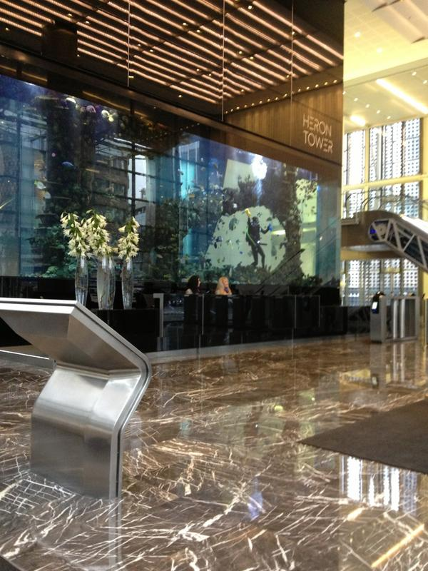 Victor pardis on twitter heron tower fish tank cleaning for Tower fish tank