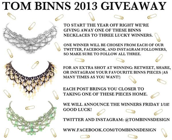 Here's your chance to win a Tom Binns necklace! All you have to do is follow & share for a chance to win! Details here: http://t.co/mL1R8hjH