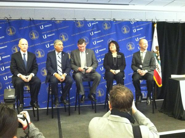 At San Jose State, @JerryBrownGov and others announce pilot with @udacity to offer courses for credit -- for $150. http://pic.twitter.com/4F9O2gJN