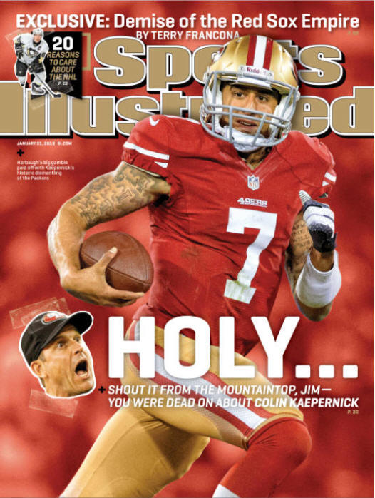 Holy Colin Kaepernick! Your national cover this week features Jim Harbaugh and the @49ers. http://on.si.com/V6XXuF // http://pic.twitter.com/7YNodVFW