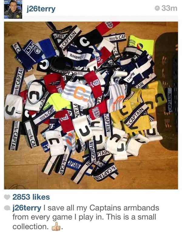 Picture: John Terry admits on Instagram that he keeps every captains armband