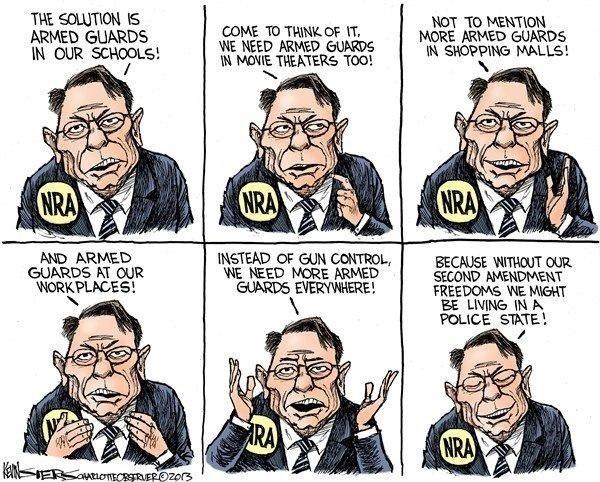 Armed guards everywhere so #gun makers can make huge profits? That's not #freedom http://t.co/nQqAE068  Thx@StevenSinger3 #uniteblue #nra