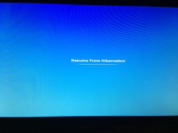 blue  u0026quot resume from hibernation u0026quot  screen when turning on